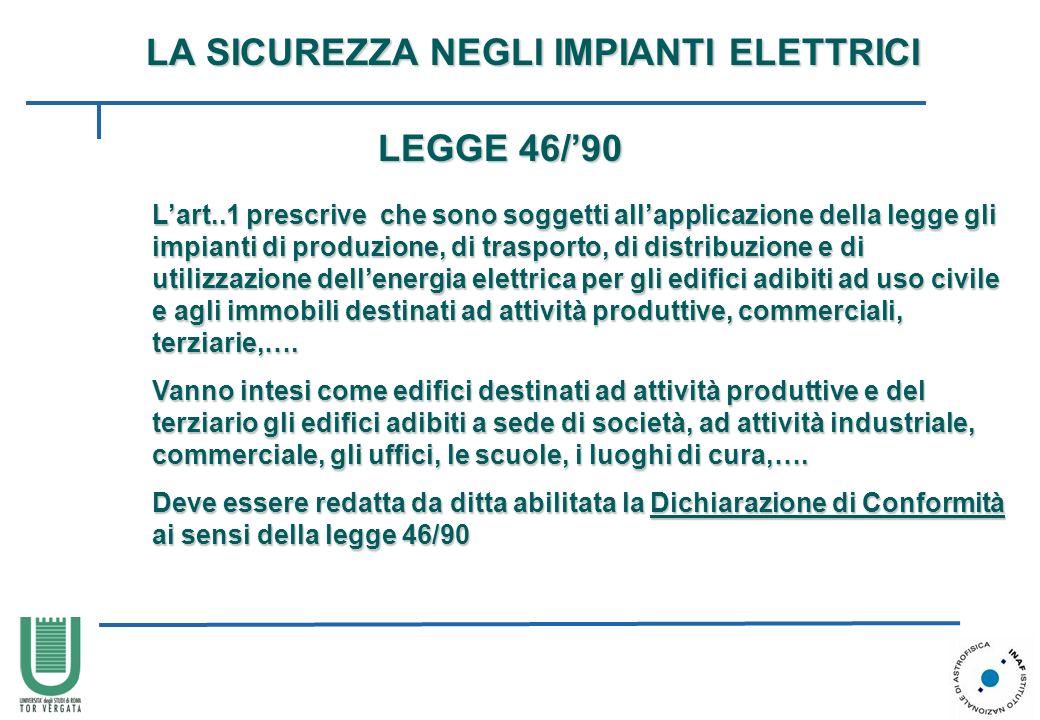 LA SICUREZZA NEGLI IMPIANTI ELETTRICI Lart..1 prescrive che sono soggetti allapplicazione della legge gli impianti di produzione, di trasporto, di dis