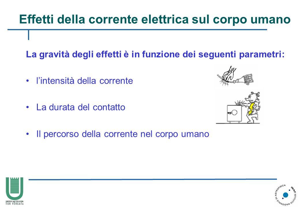 La gravità degli effetti è in funzione dei seguenti parametri: lintensità della corrente La durata del contatto Il percorso della corrente nel corpo u