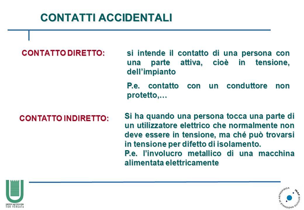 CONTATTI ACCIDENTALI CONTATTO DIRETTO: si intende il contatto di una persona con una parte attiva, cioè in tensione, dellimpianto P.e. contatto con un