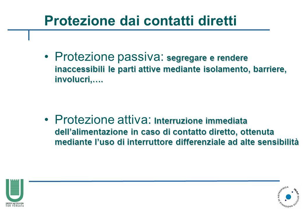 Protezione dai contatti diretti segregare e rendere inaccessibili le parti attive mediante isolamento, barriere, involucri,….Protezione passiva: segre