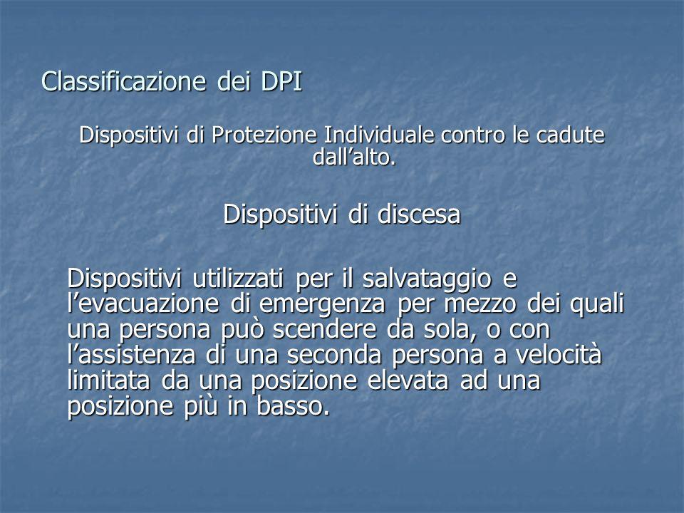 Classificazione dei DPI Dispositivi di Protezione Individuale contro le cadute dallalto. Dispositivi di discesa Dispositivi utilizzati per il salvatag