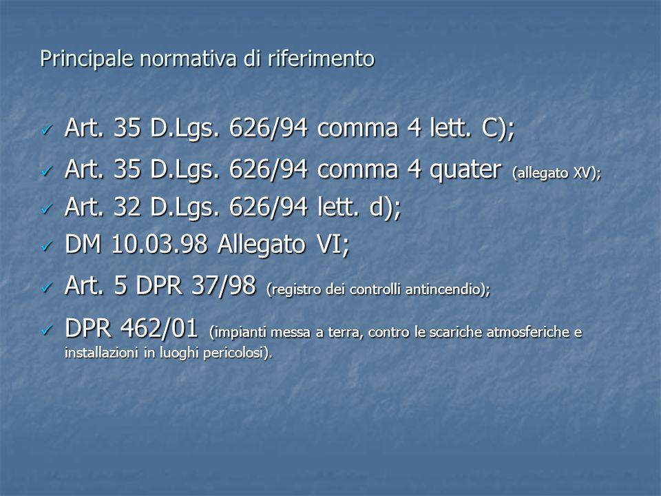 Principale normativa di riferimento Art. 35 D.Lgs. 626/94 comma 4 lett. C); Art. 35 D.Lgs. 626/94 comma 4 lett. C); Art. 35 D.Lgs. 626/94 comma 4 quat