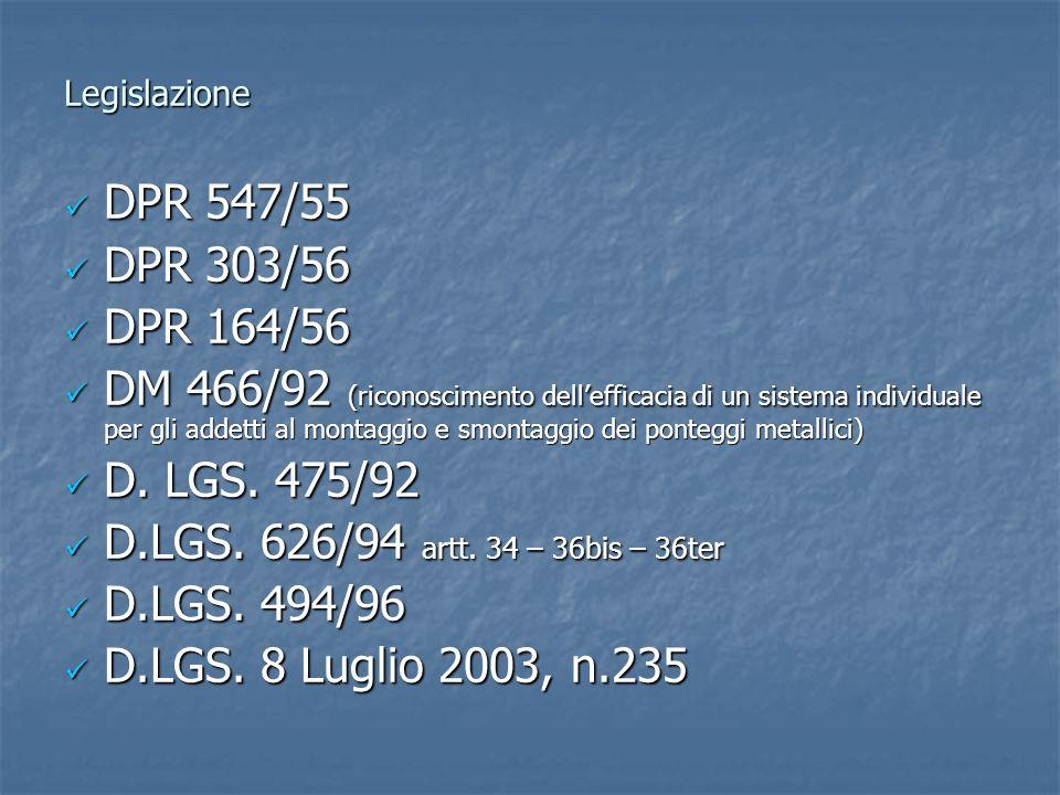 Legislazione DPR 547/55 DPR 547/55 DPR 303/56 DPR 303/56 DPR 164/56 DPR 164/56 DM 466/92 (riconoscimento dellefficacia di un sistema individuale per g