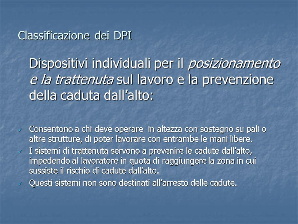 Classificazione dei DPI Dispositivi individuali per il posizionamento e la trattenuta sul lavoro e la prevenzione della caduta dallalto: Consentono a