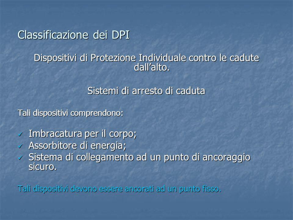 Classificazione dei DPI Dispositivi di Protezione Individuale contro le cadute dallalto. Sistemi di arresto di caduta Tali dispositivi comprendono: Im