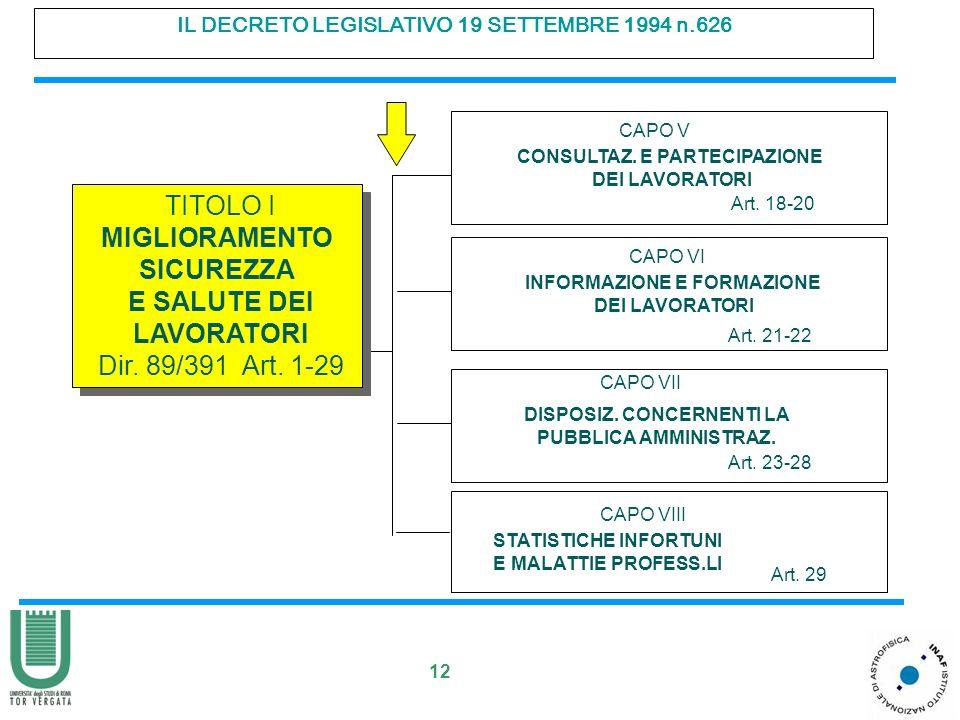 12 IL DECRETO LEGISLATIVO 19 SETTEMBRE 1994 n.626 CAPO VI INFORMAZIONE E FORMAZIONE DEI LAVORATORI Art.