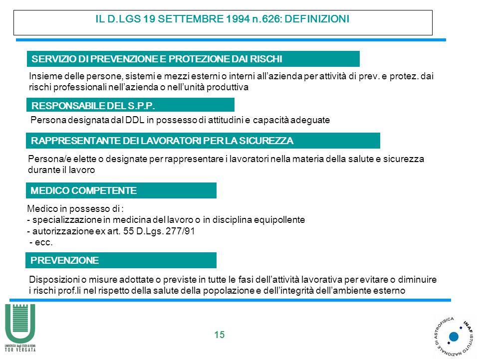 15 IL D.LGS 19 SETTEMBRE 1994 n.626: DEFINIZIONI RESPONSABILE DEL S.P.P. RAPPRESENTANTE DEI LAVORATORI PER LA SICUREZZA Persona designata dal DDL in p