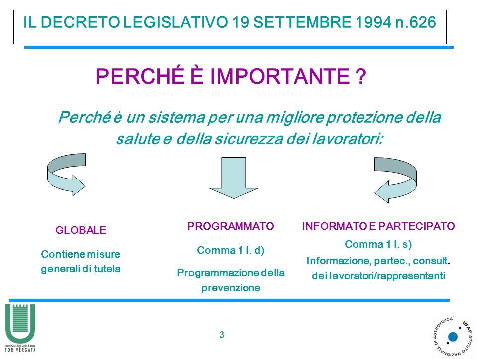 3 IL DECRETO LEGISLATIVO 19 SETTEMBRE 1994 n.626 PERCHÉ È IMPORTANTE ? Perché è un sistema per una migliore protezione della salute e della sicurezza
