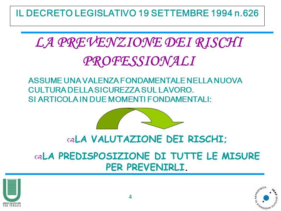 4 IL DECRETO LEGISLATIVO 19 SETTEMBRE 1994 n.626 LA PREVENZIONE DEI RISCHI PROFESSIONALI ASSUME UNA VALENZA FONDAMENTALE NELLA NUOVA CULTURA DELLA SIC