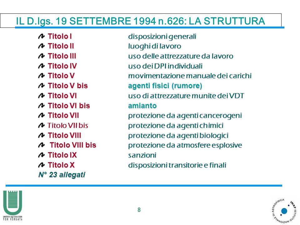 8 IL D.lgs. 19 SETTEMBRE 1994 n.626: LA STRUTTURA Titolo I disposizioni generali Titolo I disposizioni generali Titolo II luoghi di lavoro Titolo II l