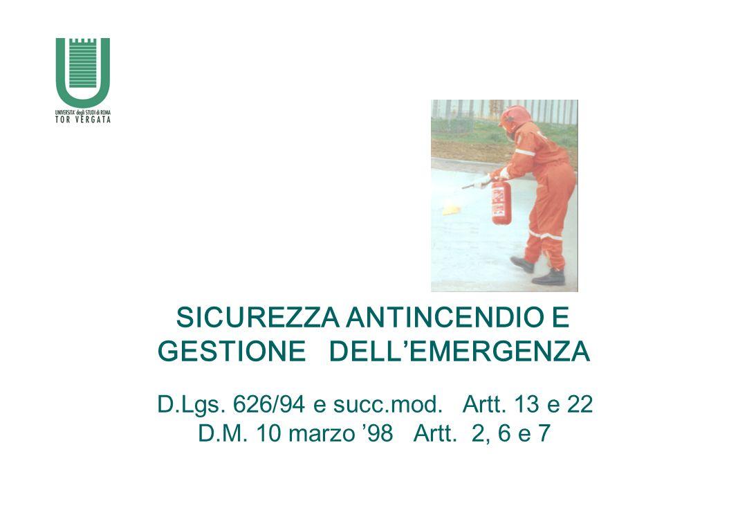 SICUREZZA ANTINCENDIO E GESTIONE DELLEMERGENZA D.Lgs. 626/94 e succ.mod. Artt. 13 e 22 D.M. 10 marzo 98 Artt. 2, 6 e 7