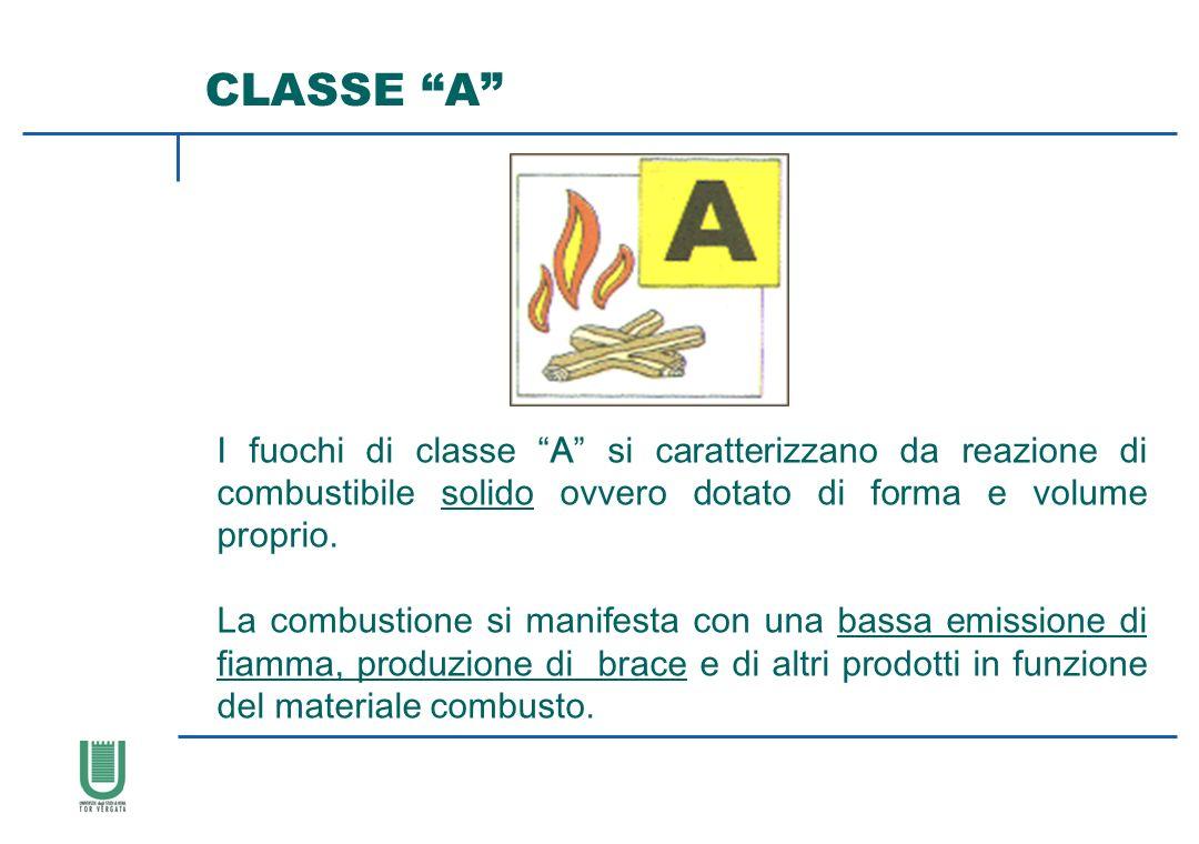CLASSE A I fuochi di classe A si caratterizzano da reazione di combustibile solido ovvero dotato di forma e volume proprio. La combustione si manifest