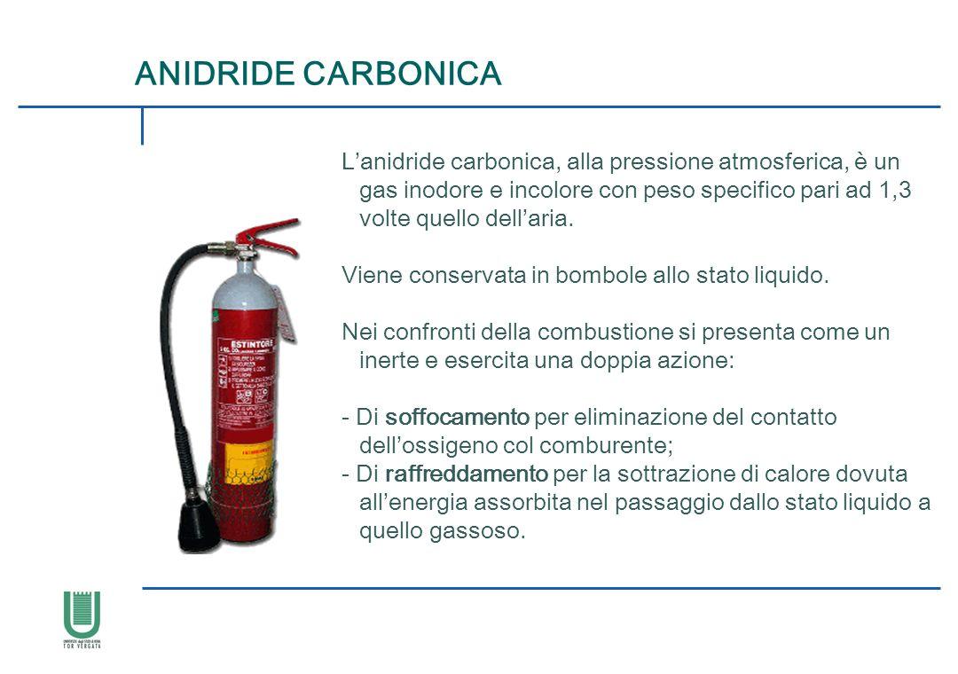 Lanidride carbonica, alla pressione atmosferica, è un gas inodore e incolore con peso specifico pari ad 1,3 volte quello dellaria. Viene conservata in