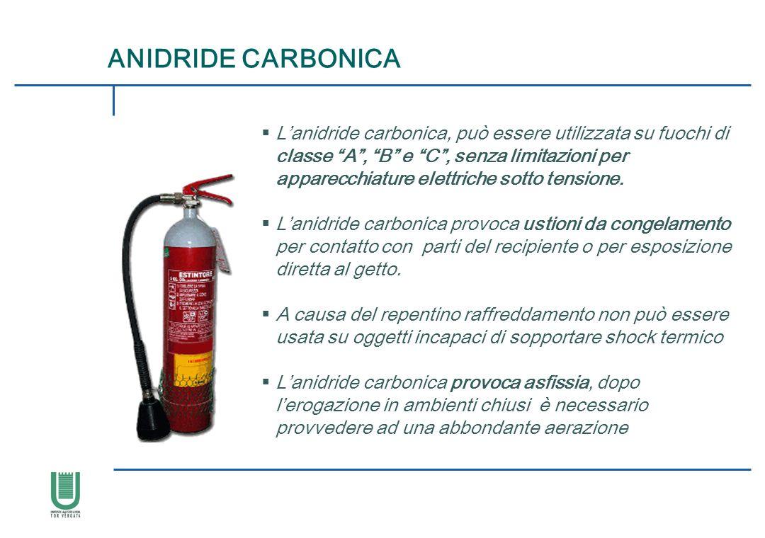 Lanidride carbonica, può essere utilizzata su fuochi di classe A, B e C, senza limitazioni per apparecchiature elettriche sotto tensione. Lanidride ca