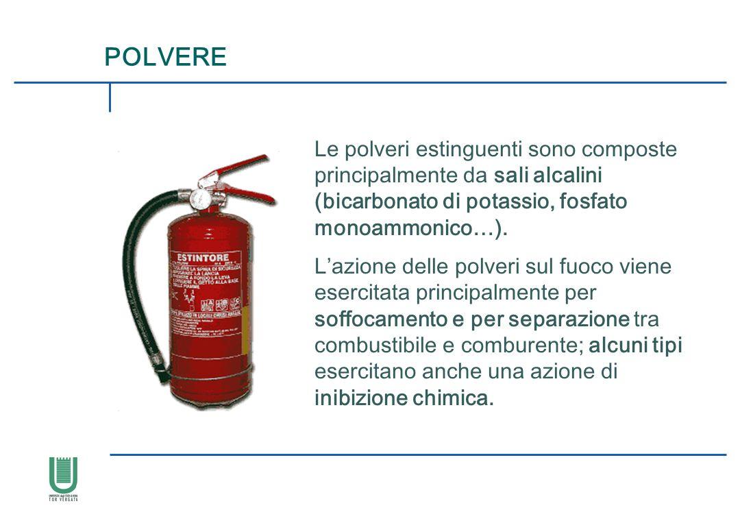 Le polveri estinguenti sono composte principalmente da sali alcalini (bicarbonato di potassio, fosfato monoammonico…). Lazione delle polveri sul fuoco