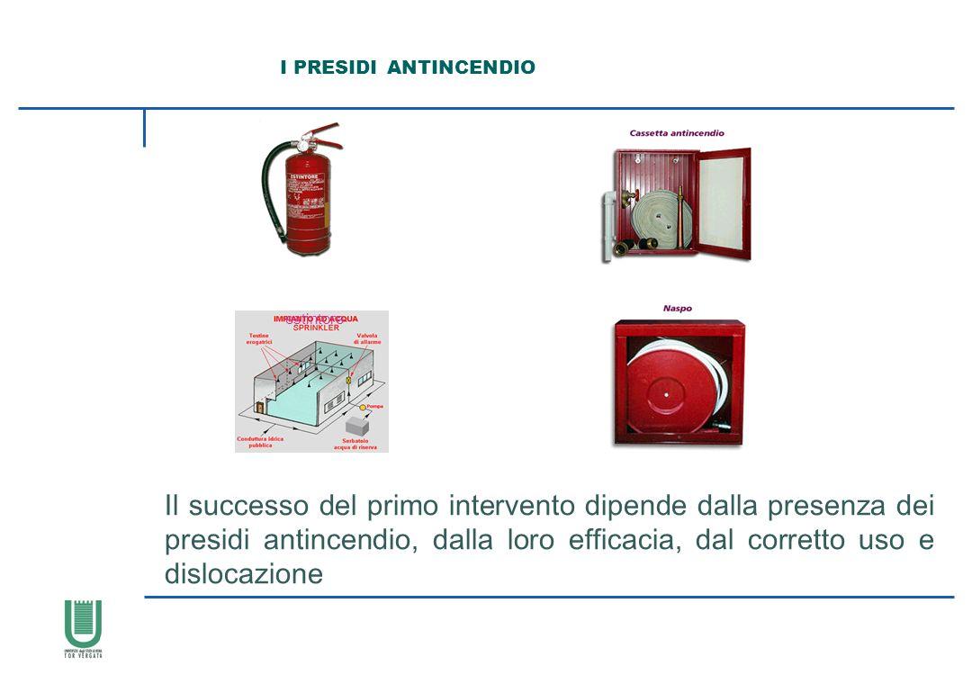 I PRESIDI ANTINCENDIO Il successo del primo intervento dipende dalla presenza dei presidi antincendio, dalla loro efficacia, dal corretto uso e disloc