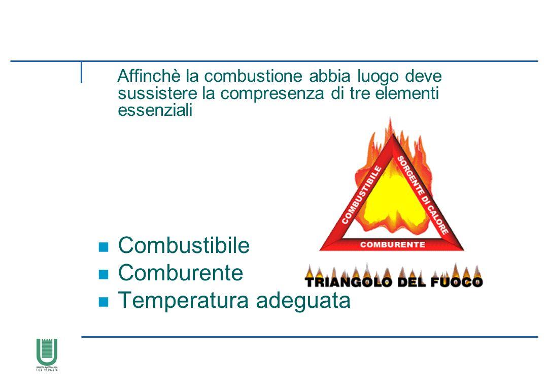 Affinchè la combustione abbia luogo deve sussistere la compresenza di tre elementi essenziali n Combustibile n Comburente n Temperatura adeguata IL FU