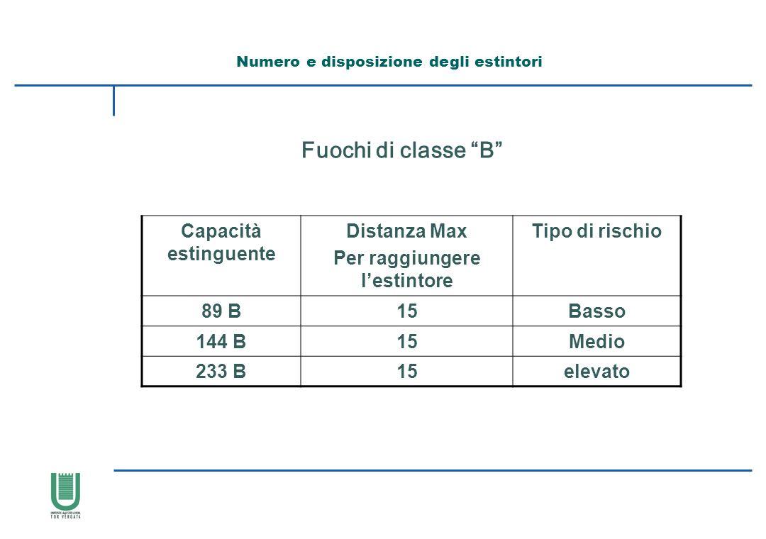 Capacità estinguente Distanza Max Per raggiungere lestintore Tipo di rischio 89 B15Basso 144 B15Medio 233 B15elevato Fuochi di classe B Numero e dispo