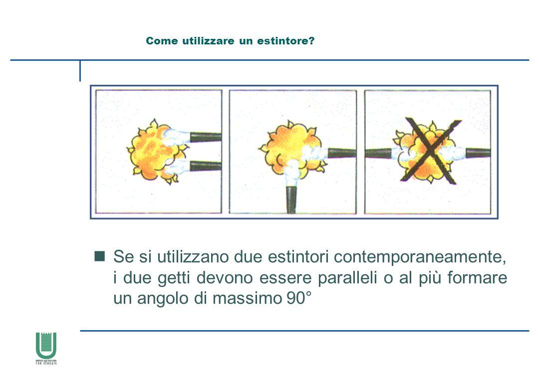 nSe si utilizzano due estintori contemporaneamente, i due getti devono essere paralleli o al più formare un angolo di massimo 90° Come utilizzare un e