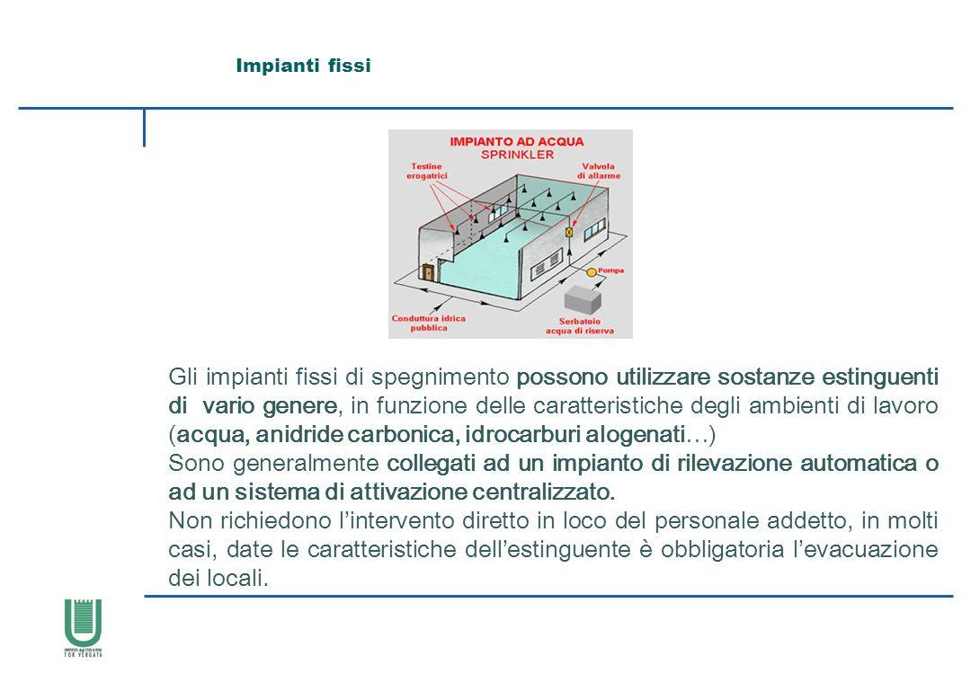 Impianti fissi Gli impianti fissi di spegnimento possono utilizzare sostanze estinguenti di vario genere, in funzione delle caratteristiche degli ambi