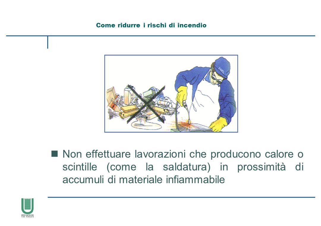 nNon effettuare lavorazioni che producono calore o scintille (come la saldatura) in prossimità di accumuli di materiale infiammabile Come ridurre i ri