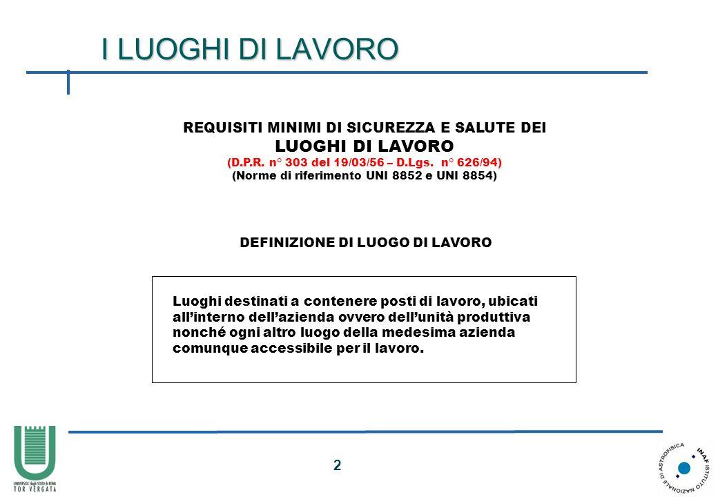2 I LUOGHI DI LAVORO REQUISITI MINIMI DI SICUREZZA E SALUTE DEI LUOGHI DI LAVORO (D.P.R. n° 303 del 19/03/56 – D.Lgs. n° 626/94) (Norme di riferimento