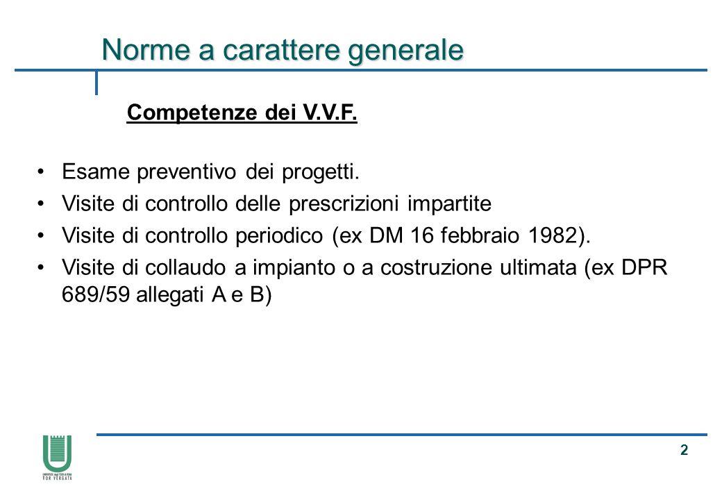 13 Fonti normative Principali fonti normative attraverso cui si esplica lattività di prevenzione incendi del C.N.VV.F.