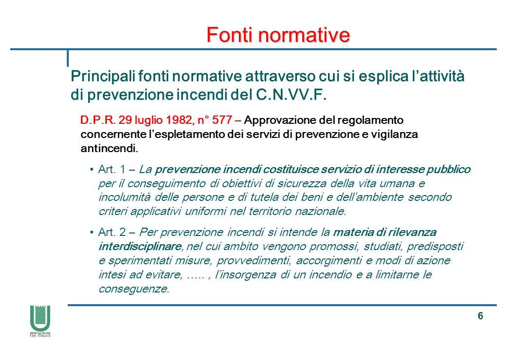 17 Fonti normative Principali fonti normative attraverso cui si esplica lattività di prevenzione incendi del C.N.VV.F.