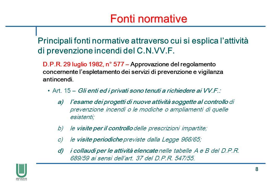 19 Fonti normative Principali fonti normative attraverso cui si esplica lattività di prevenzione incendi del C.N.VV.F.
