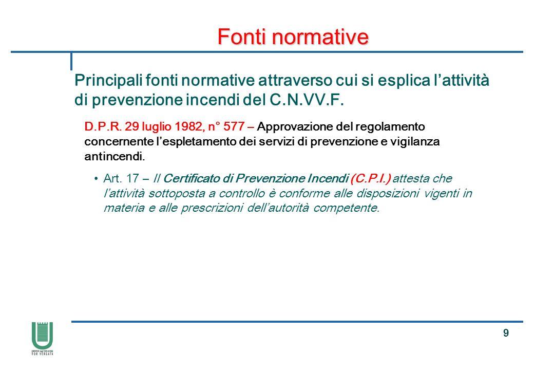 20 Fonti normative Principali fonti normative attraverso cui si esplica lattività di prevenzione incendi del C.N.VV.F.