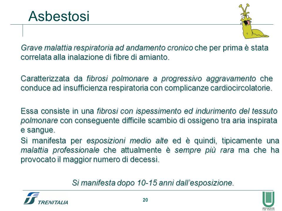 20 Grave malattia respiratoria ad andamento cronicoche per prima è stata correlata alla inalazione di fibre di amianto. Grave malattia respiratoria ad