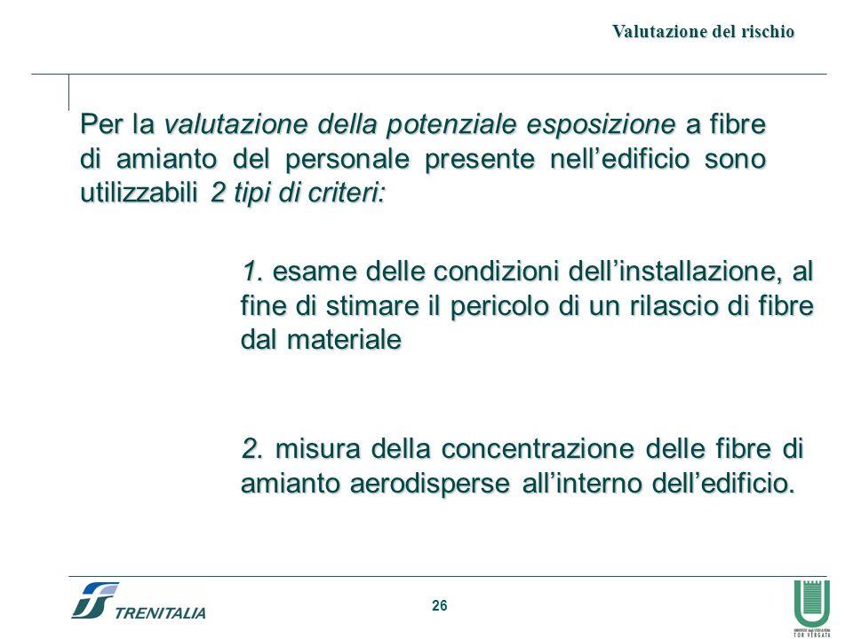 26 Per la valutazione della potenziale esposizione a fibre di amianto del personale presente nelledificio sono utilizzabili 2 tipi di criteri: 2.misur