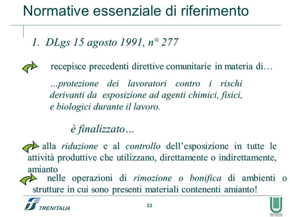 33 1. DLgs 15 agosto 1991, n° 277 …protezione dei lavoratori contro i rischi derivanti da esposizione ad agenti chimici, fisici, e biologici durante i