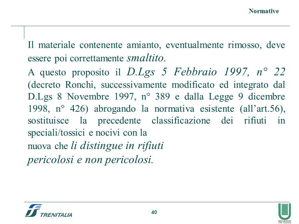 40 Il materiale contenente amianto, eventualmente rimosso, deve essere poi correttamente smaltito. A questo proposito il D.Lgs 5 Febbraio 1997, n° 22