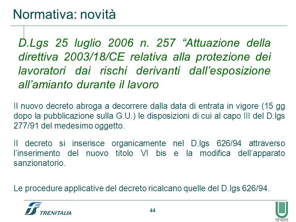 44 Normativa: novità Il nuovo decreto abroga a decorrere dalla data di entrata in vigore (15 gg dopo la pubblicazione sulla G.U.) le disposizioni di c