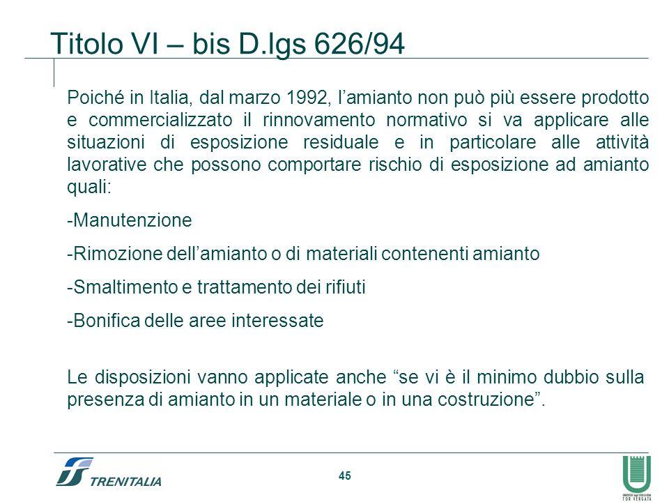 45 Titolo VI – bis D.lgs 626/94 Poiché in Italia, dal marzo 1992, lamianto non può più essere prodotto e commercializzato il rinnovamento normativo si