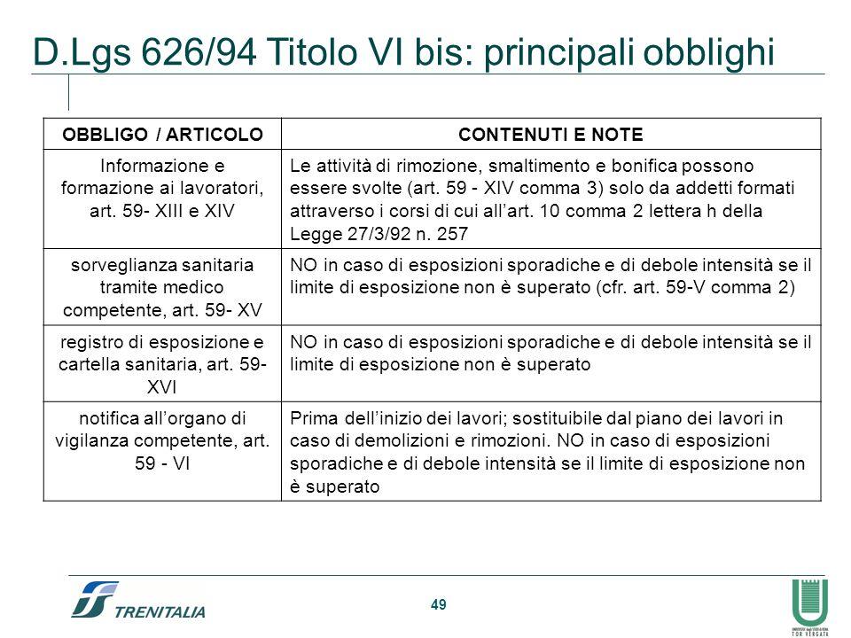 49 D.Lgs 626/94 Titolo VI bis: principali obblighi OBBLIGO / ARTICOLOCONTENUTI E NOTE Informazione e formazione ai lavoratori, art. 59- XIII e XIV Le