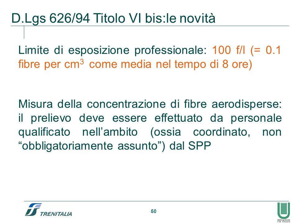 50 D.Lgs 626/94 Titolo VI bis:le novità Limite di esposizione professionale: 100 f/l (= 0.1 fibre per cm 3 come media nel tempo di 8 ore) Misura della