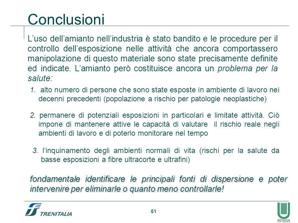 51 Luso dellamianto nellindustria è stato bandito e le procedure per il controllo dellesposizione nelle attività che ancora comportassero manipolazion