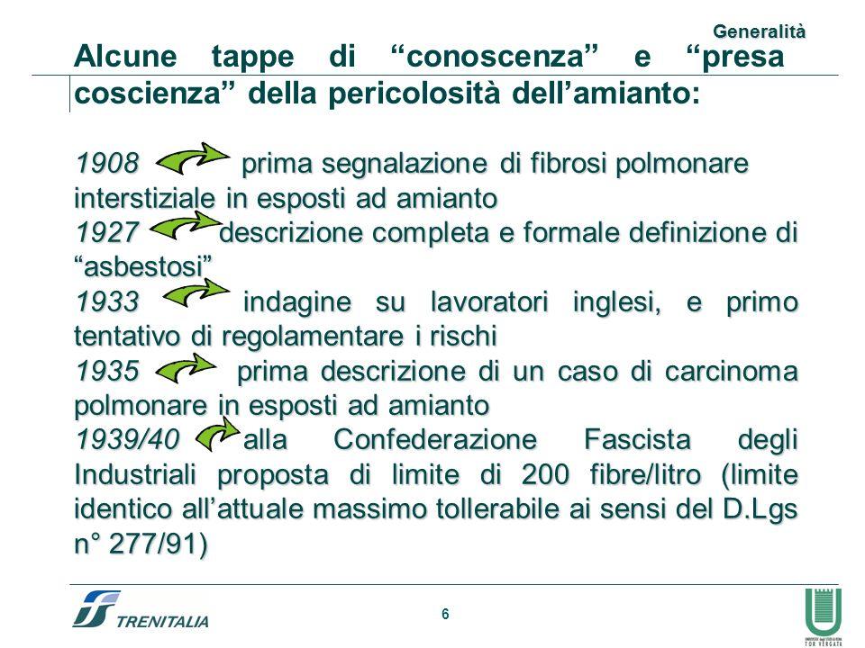 7 1943 inserimento dellasbestosi nellelenco italiano delle malattie con obbligo di assicurazione contro le malattie professionali 1947 evidenziato il nesso eziopatogenetico amianto- mesotelioma 1960 studi epidemiologici sullassociazione fra asbestosi, ca.