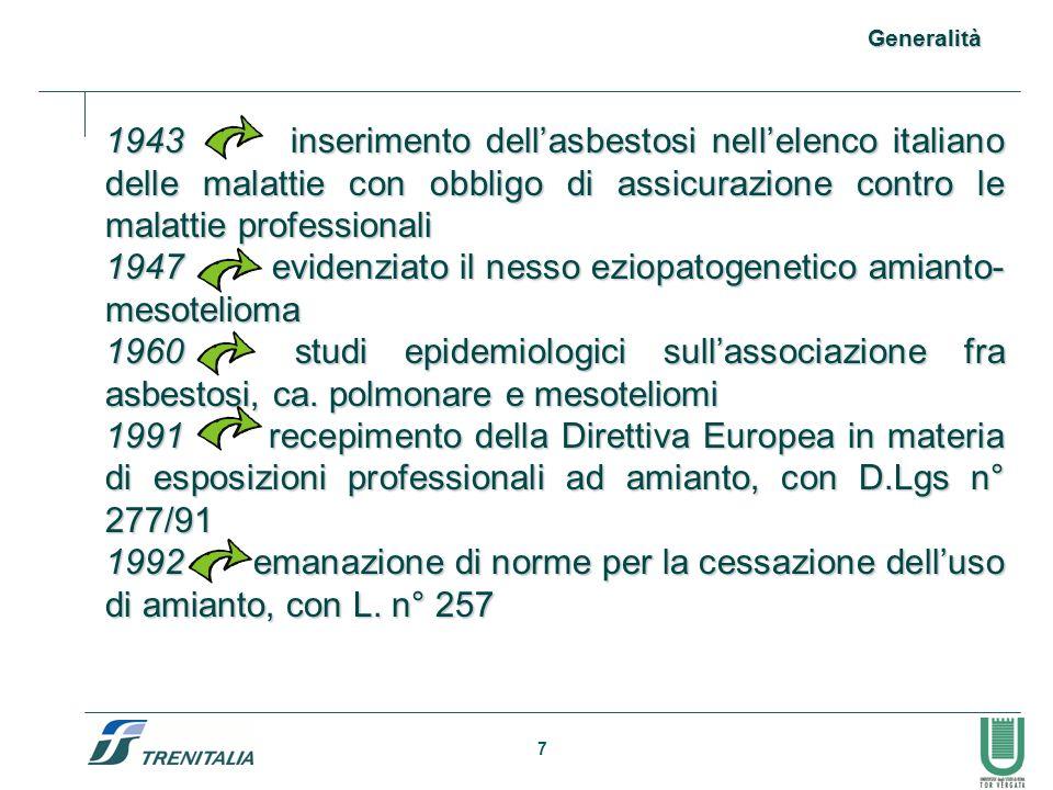 7 1943 inserimento dellasbestosi nellelenco italiano delle malattie con obbligo di assicurazione contro le malattie professionali 1947 evidenziato il