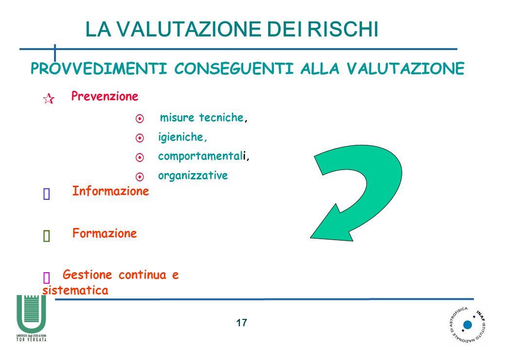 18 VALUTAZIONE dei RISCHI esempio di possibile approccio pratico alla VALUTAZIONE dei RISCHI Modello desunto dal documento: Orientamenti CEE riguardo alla valutazione dei rischi sul lavoro LA VALUTAZIONE DEI RISCHI