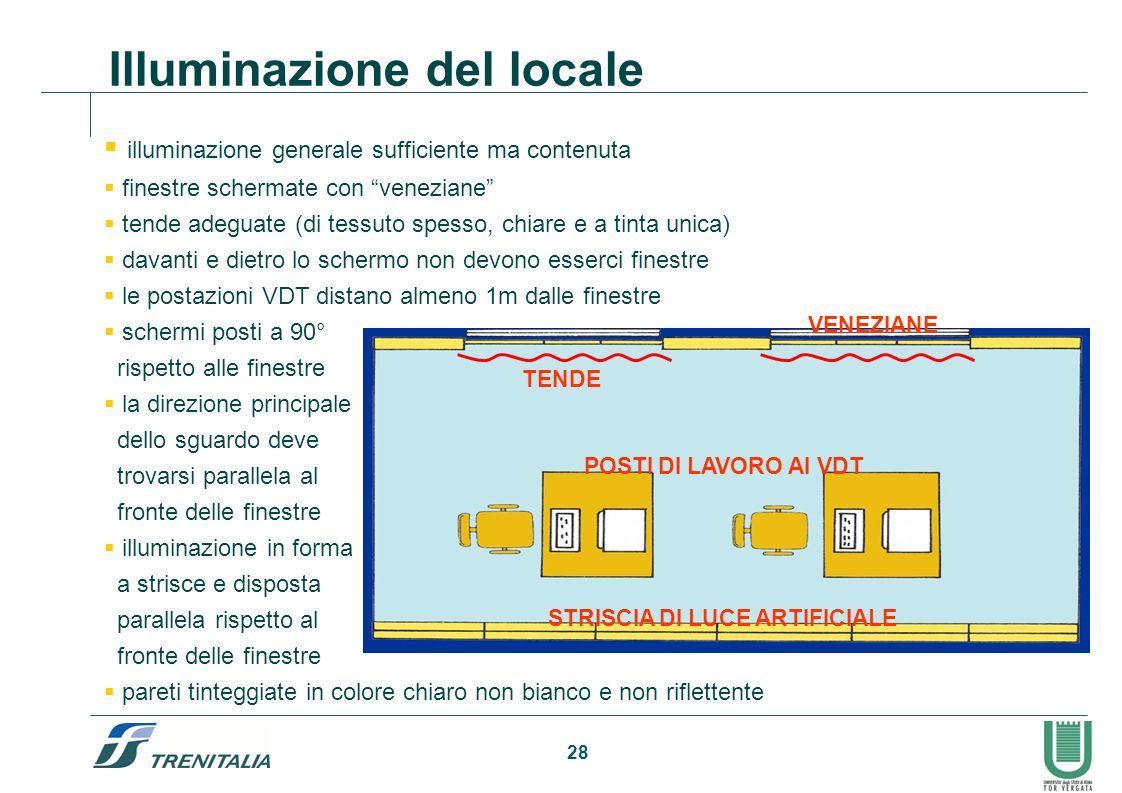 28 Illuminazione del locale illuminazione generale sufficiente ma contenuta finestre schermate con veneziane tende adeguate (di tessuto spesso, chiare