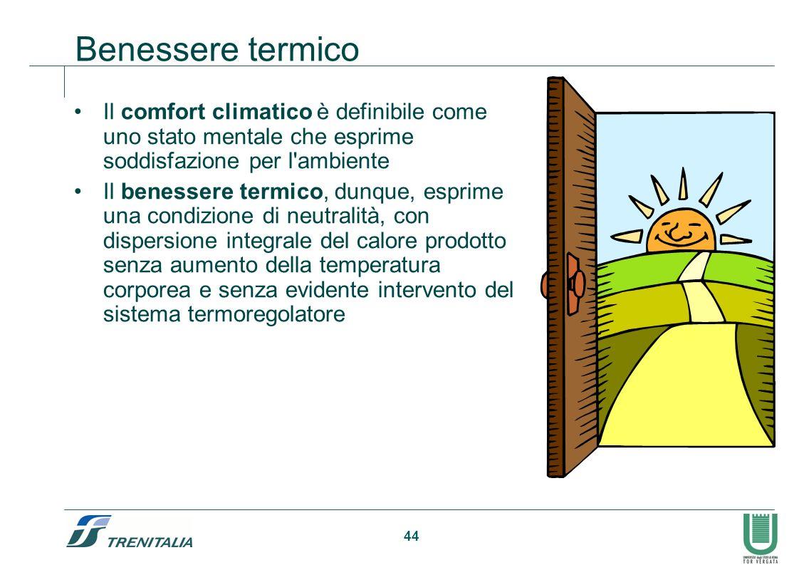 44 Benessere termico Il comfort climatico è definibile come uno stato mentale che esprime soddisfazione per l'ambiente Il benessere termico, dunque, e