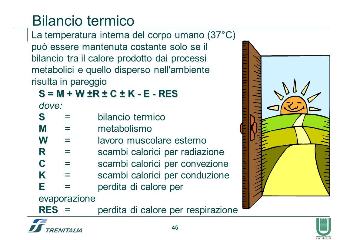46 Bilancio termico La temperatura interna del corpo umano (37°C) può essere mantenuta costante solo se il bilancio tra il calore prodotto dai process