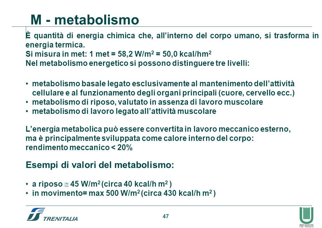 47 M - metabolismo Esempi di valori del metabolismo: a riposo 45 W/m 2 (circa 40 kcal/h m 2 ) in movimento= max 500 W/m 2 (circa 430 kcal/h m 2 ) È qu