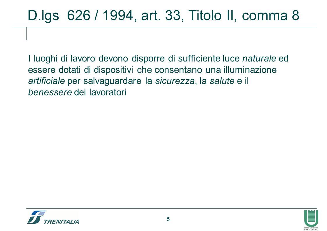 5 D.lgs 626 / 1994, art. 33, Titolo II, comma 8 I luoghi di lavoro devono disporre di sufficiente luce naturale ed essere dotati di dispositivi che co