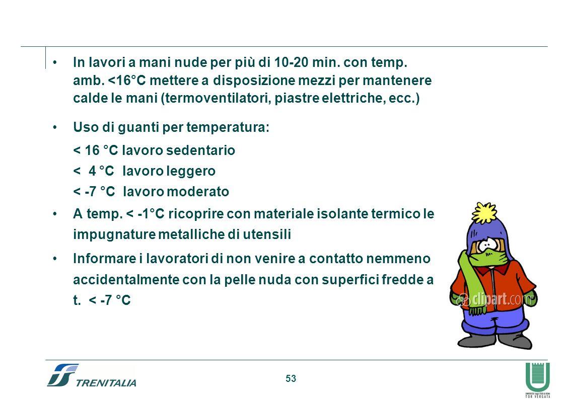 53 Protezioni delle mani contro il freddo In lavori a mani nude per più di 10-20 min. con temp. amb. <16°C mettere a disposizione mezzi per mantenere