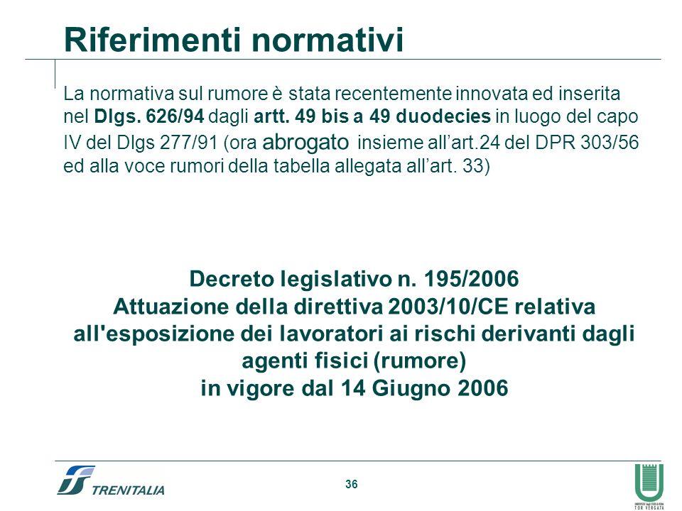 36 Riferimenti normativi La normativa sul rumore è stata recentemente innovata ed inserita nel Dlgs. 626/94 dagli artt. 49 bis a 49 duodecies in luogo