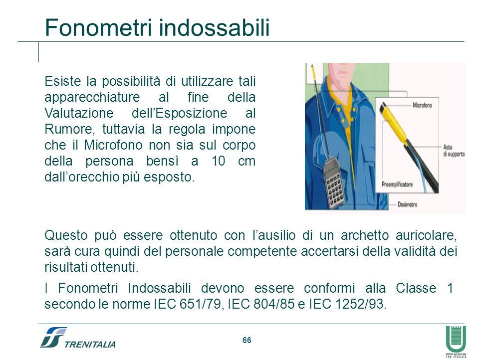 66 Fonometri indossabili Esiste la possibilità di utilizzare tali apparecchiature al fine della Valutazione dellEsposizione al Rumore, tuttavia la reg